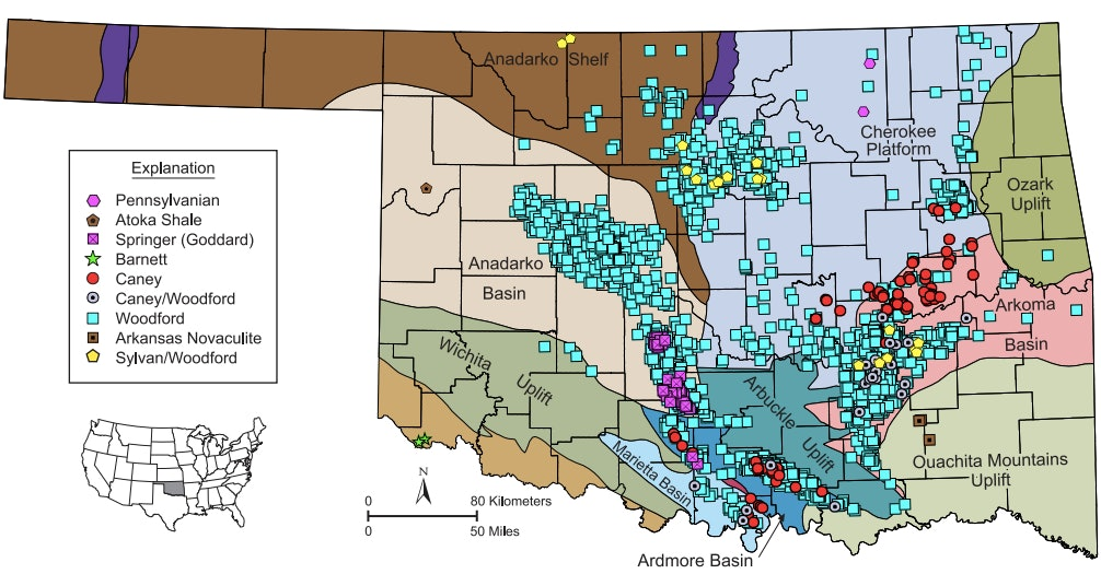2016 Oklahoma Shale Gas and Tight Oil Well Completions Map, 1939-2016