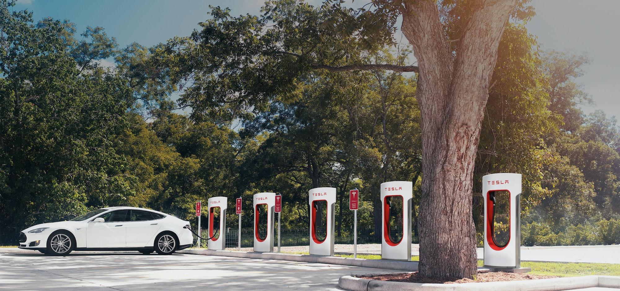 Tesla electric vehicle charging stations