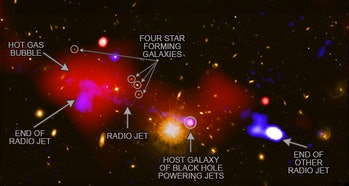 An illustration of the jets emitted from the black hole.