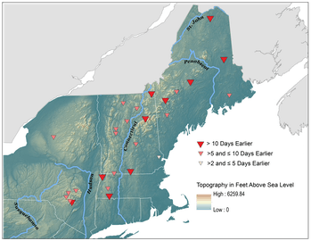 Changes in snowmelt-related streamflow timing for rivers, 1960-2014, show that snow is melting earli...