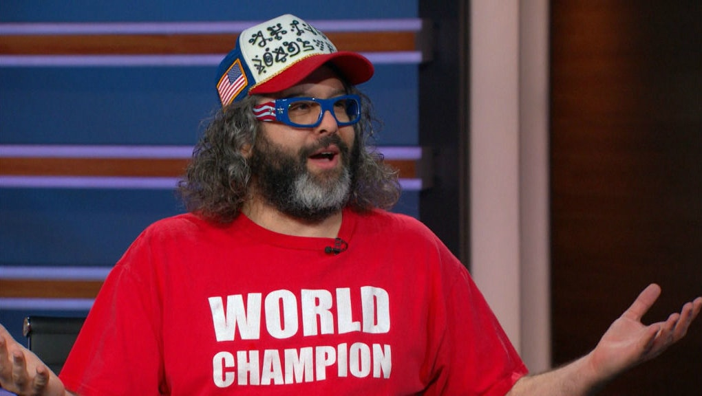 Judah Friedlander appearing on 'The Daily Show with Trevor Noah'.