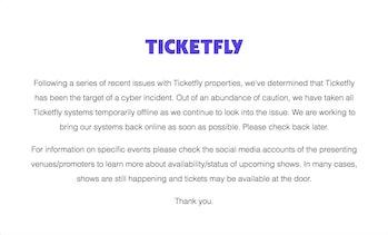 ticketfly hack announcment websites shut down