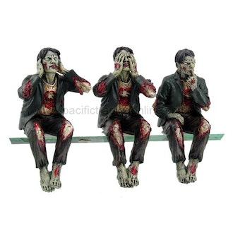 Walking Dead Zombie Undead See Hear Speak No Evil Set of Shelf Sitters