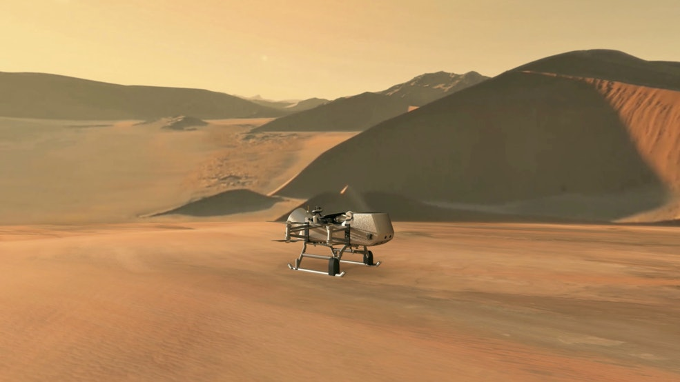 NASA Dragonfly spacecraft on Titan
