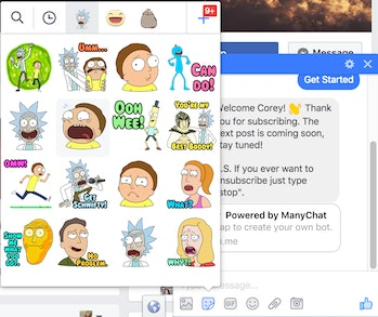 Simply select the stickers button in Facebook Messenger to use official 'Rick and Morty' stickers.