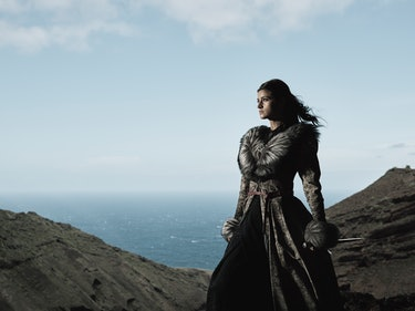 Yennefer The Witcher Netflix, amidst rocks