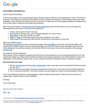 Google's email to G Suite customers