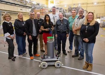The neutron detector robot, standing tall.