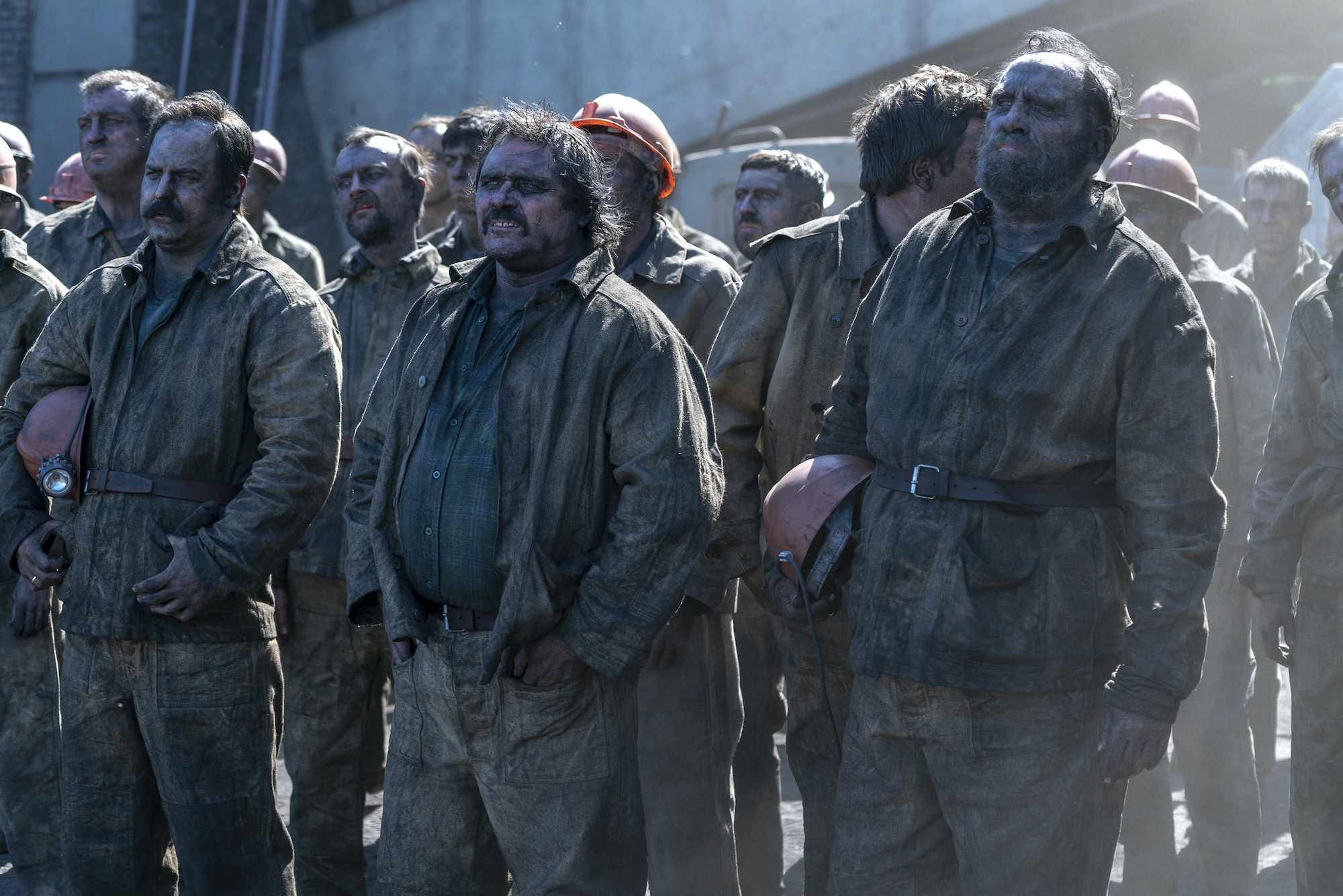The group of miners in 'Chernobyl'.