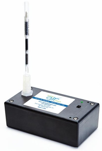A black air quality tester.