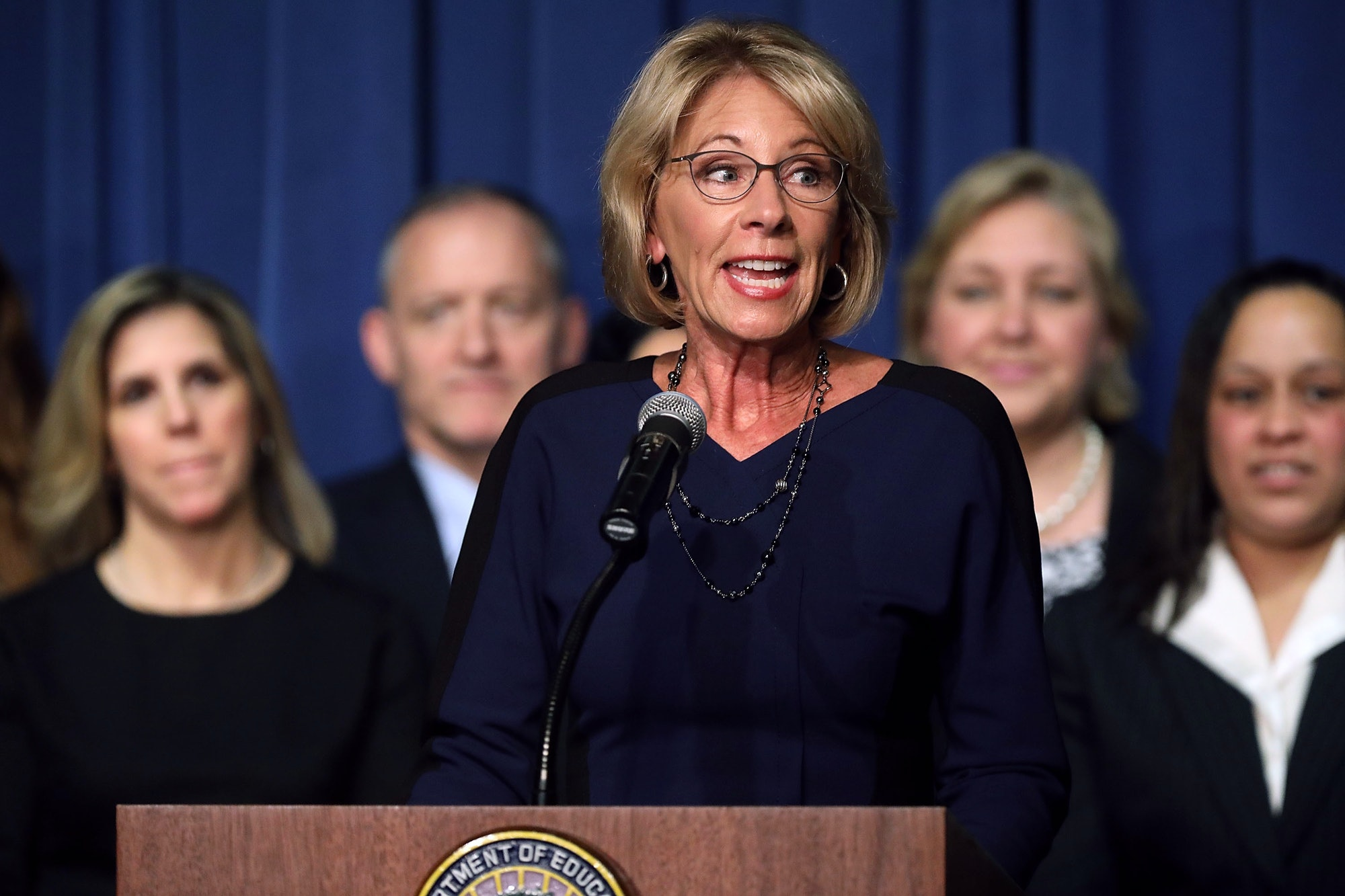 Education Secretary Betsy DeVos delivers remarks to employees on her first day on the job at the Department of Education February 8,2017in Washington, DC. DeVos was confirmed by the Senate after Vice President Mike Pence cast a tie-breaking vote Tuesday.