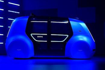A Volkswagen 'Cedric' self-driving automobile at the Geneva International Motor Show.