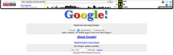 The earliest version of the Google search engine, as stored by the Internet Archive's Wayback Machin...