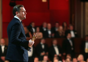 HOLLYWOOD, CA - FEBRUARY 28: Actor Leonardo DiCaprio accepts the Best Performance by an Actor in a Leading Role award for 'The Revenant' onstage during the 88th Annual Academy Awards at Dolby Theatre on February 28, 2016 in Hollywood, California. (Photo by Christopher Polk/Getty Images)
