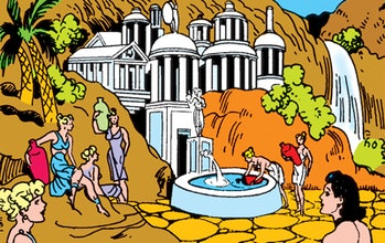 An early version of Paradise Island from DC Comics