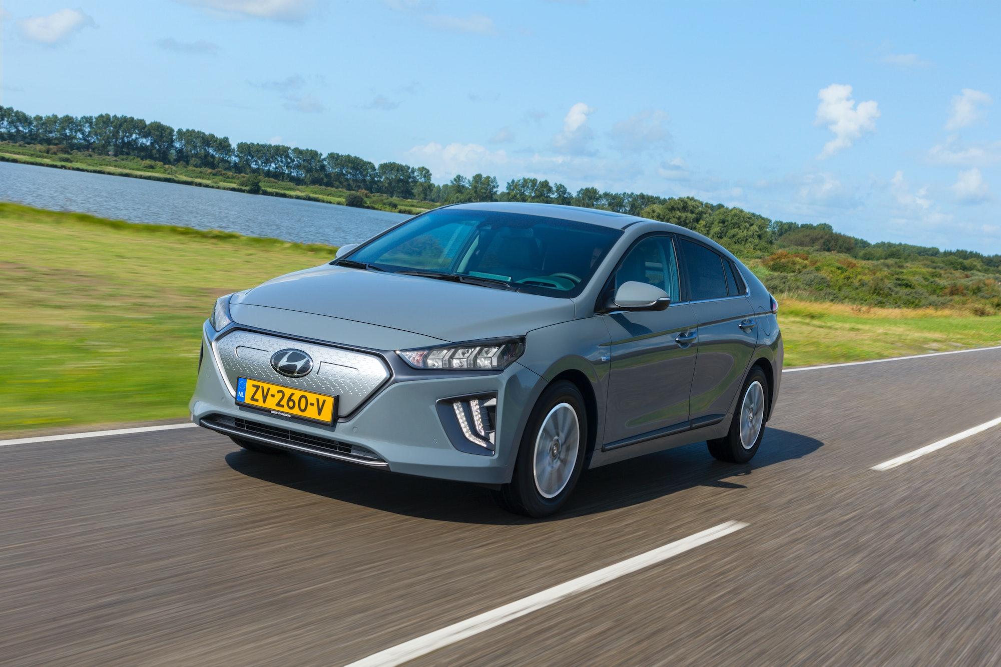 Hyundai Ioniq Electric in motion.