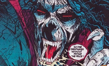 """Morbius """"No one trespasses"""" message from the Marvel comics"""