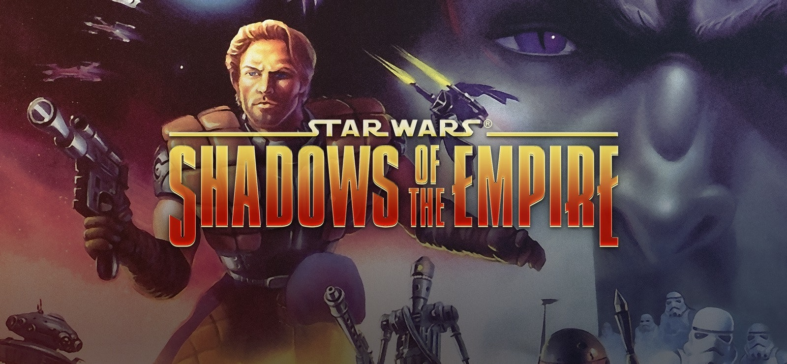 Dash Rendar wields his blaster as Prince Xizor looks on in box art for the N64 version of 'Shadows of the Empire.'Dash Rendar wields his blaster as Prince Xizor looks on in box art for the N64 version of 'Shadows of the Empire.'