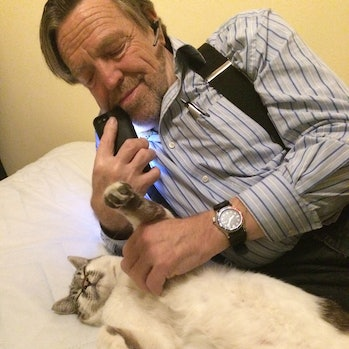 John Perry Barlow with cat