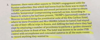 Screenshot from Steele Dossier about the Trump Piss tape.