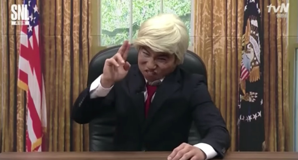 An unfunny portrayal of Trump in South Korea.