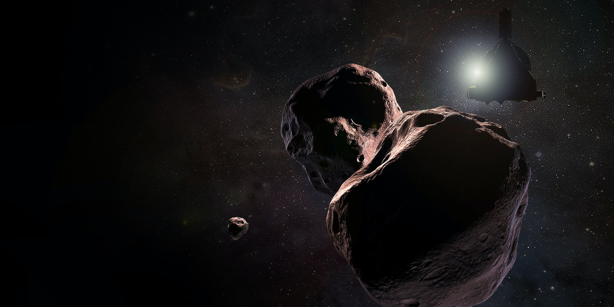 Artist's rendering of New Horizons approaching Ultima Thule.