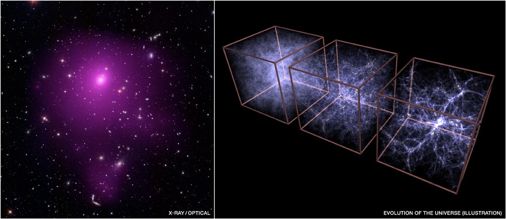 The Abell 85 galaxy cluster, as observed by NASA's Chandra.