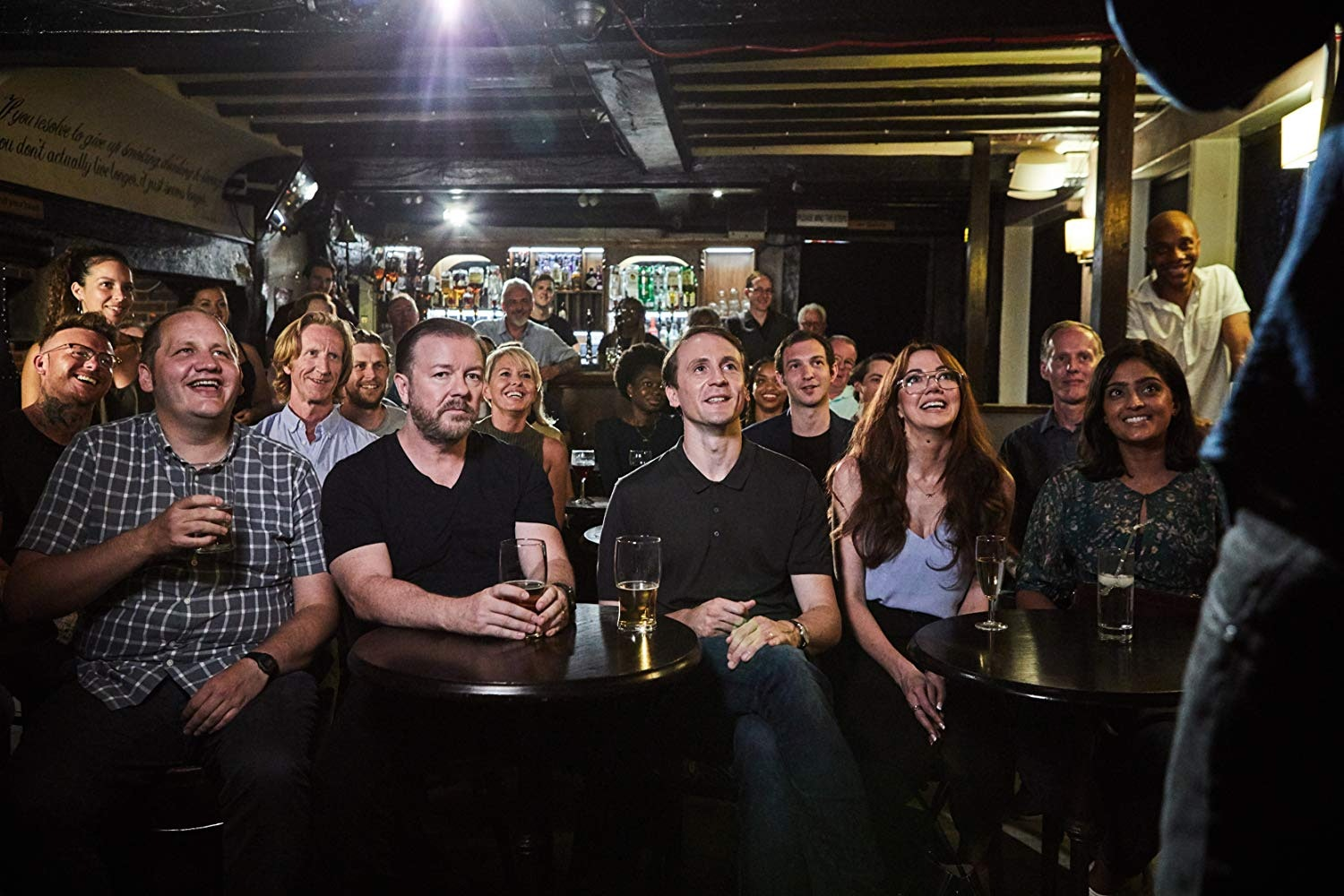 Ricky Gervais and the cast of 'After Life' on Netflix.