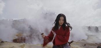 Li Yifei as Mulan on the battlefield in Disney's live-action Mulan