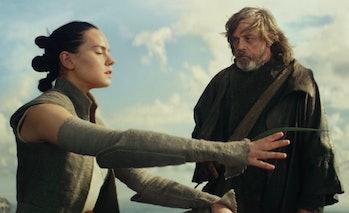 Rey and Luke Skywalker in 'Star Wars: The Last Jedi'.