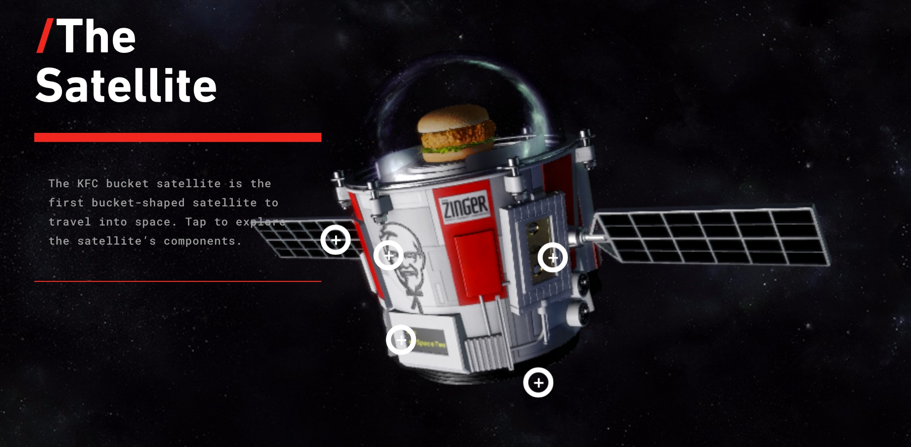 KFC space zinger chicken sandwich satellite earth