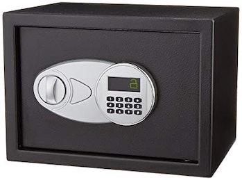 A black safe.