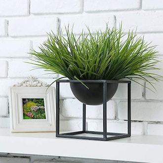 MyGift Modern Metal Cube Frame Planter Bowl