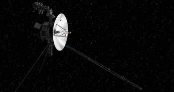 An illustration of the Voyager spacecraft sent out to explore interstellar space