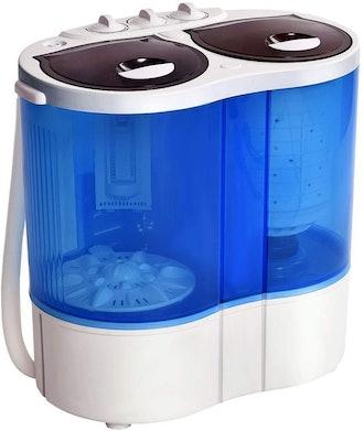 Giantex 16lbs Portable Mini Washing Machine Gravity Drain Compact Twin Tub Washer Spinner
