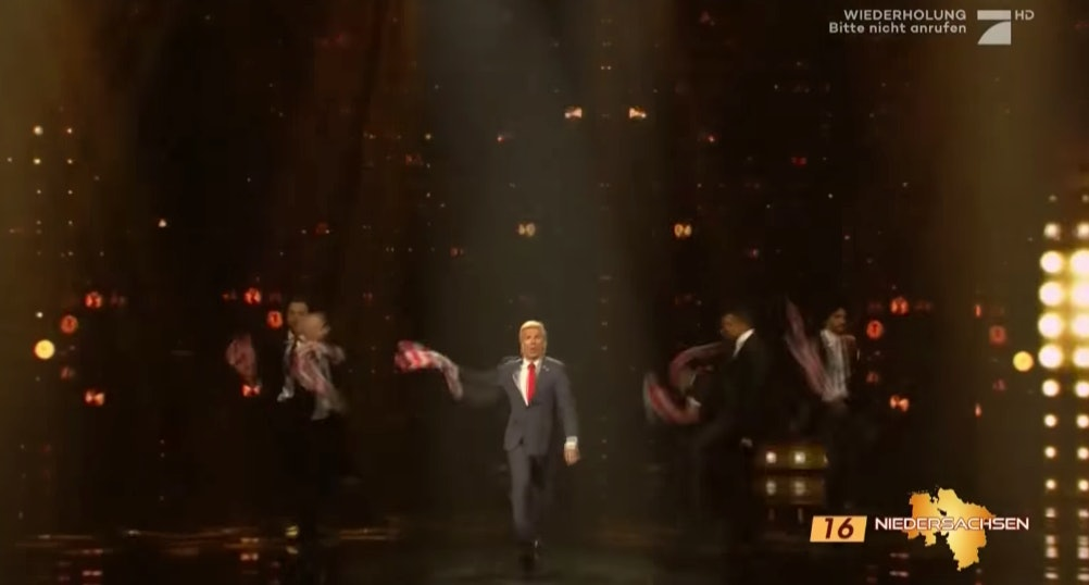 An unfunny portrayal of Trump in Germany.