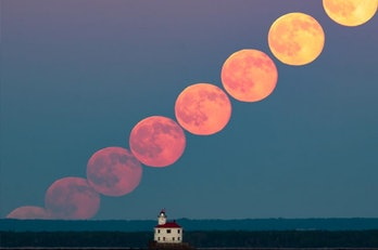 A series of shots of the full moon in June 2016, taken from Duluth, Minnesota's Park Point beach. (I...