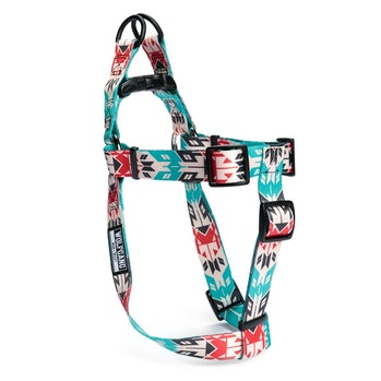 A dog harness with blue, white and red patterns.