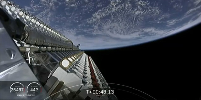 The first 60 Starlink satellites just moments before they were deployed.