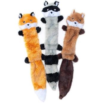 ZippyPaws Skinny Peltz No Stuffing Squeaky Plush Dog Toy, Fox, Raccoon, and Squirrel