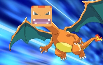 Charizard from the anime with a 'Pokémon Quest' face.