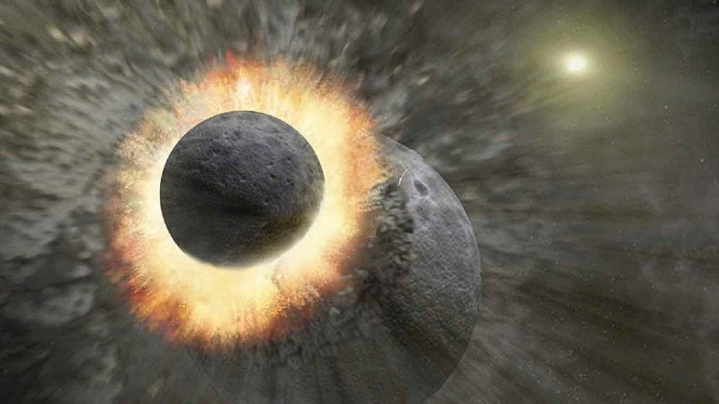 Artist's impression of the collision between the proto-Earth and a Mars-sized object.