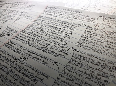 Kyle Hill writes out Because Science scripts by hand before typing them.