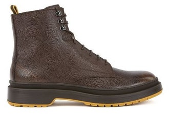HUGO BOSS LACE-UP BOOTS IN SCOTCH-GRAIN LEATHER WITH CONTRAST LUG SOLE