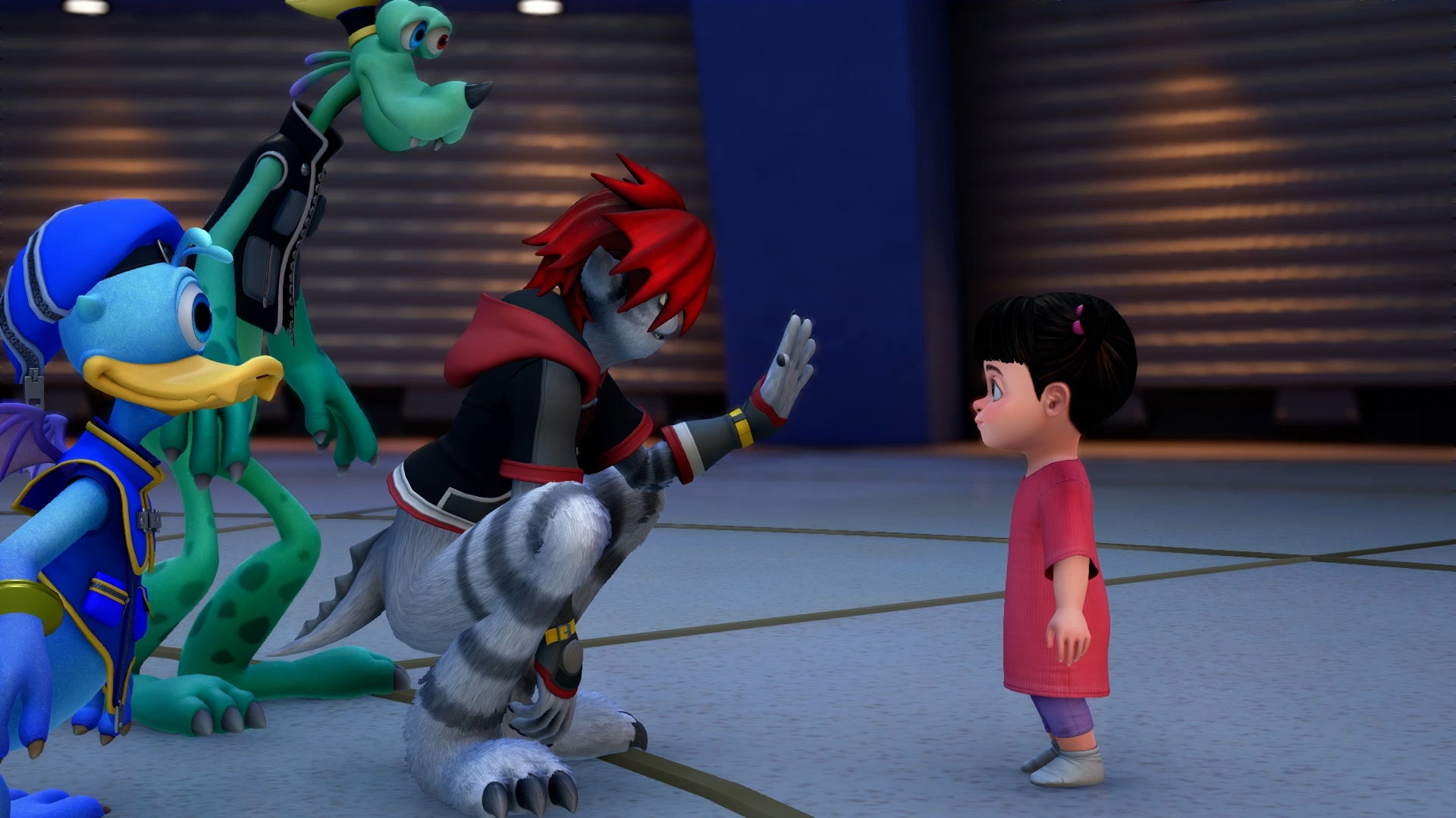 "Sora, Donald, and Goofy transform into ""Monsters"" when they go to Monstropolis."