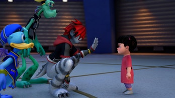 """Sora, Donald, and Goofy transform into """"Monsters"""" when they go to Monstropolis."""