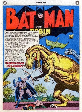 Batman t-rex Supergirl