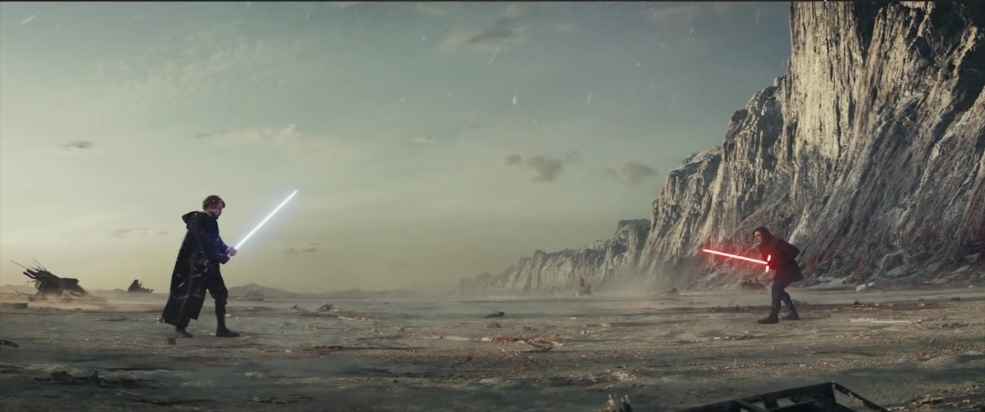 Another shot of Luke Skywalker's projection facing off against Kylo Ren in 'The Last Jedi'.