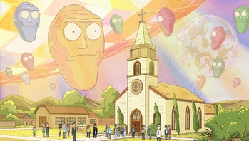 "Cromulons invade Earth in the 'Rick and Morty' Season 2 episode ""Get Schwifty."""