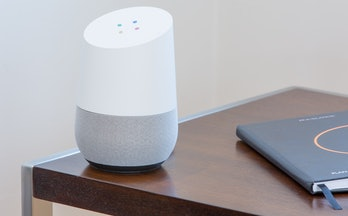 The Google Home uses the Assistant to complete tasks.